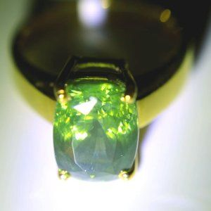 Green Zircon 8.90ct Solid 18K Yellow Gold Ring